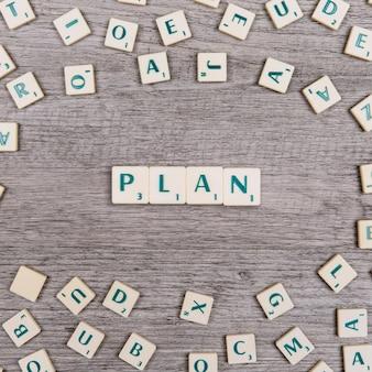 Letras que formam a palavra plano