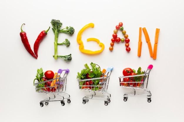 Letras veganas ao lado de pequenos carrinhos de compras