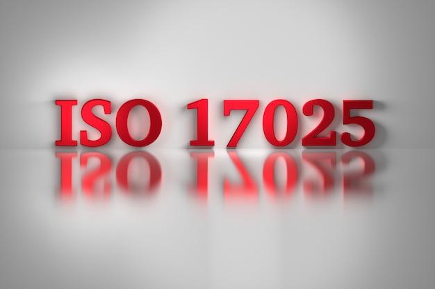 Letras vermelhas do padrão de qualidade iso 17025 para laboratórios de teste e calibração.