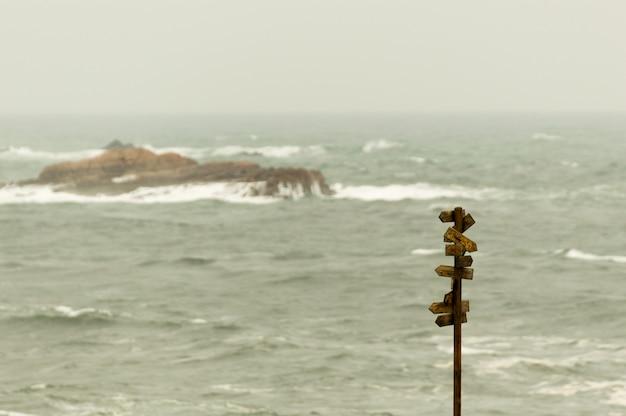 Letreiro de madeira com muitos ponteiros com o mar no fundo.