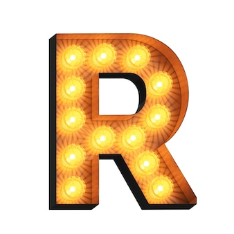 Letreiro led com a letra r em fundo branco