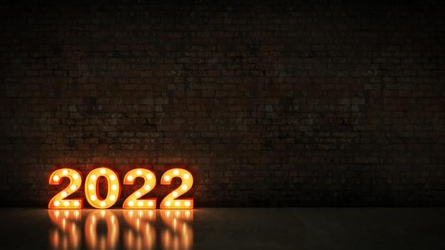 Letreiro luminoso 2022 sinal de letra ano novo 2022 renderização em 3d
