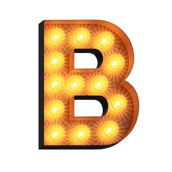 Letreiro luminoso letra b em fundo branco