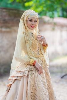 Levantamento muçulmano da noiva do retrato