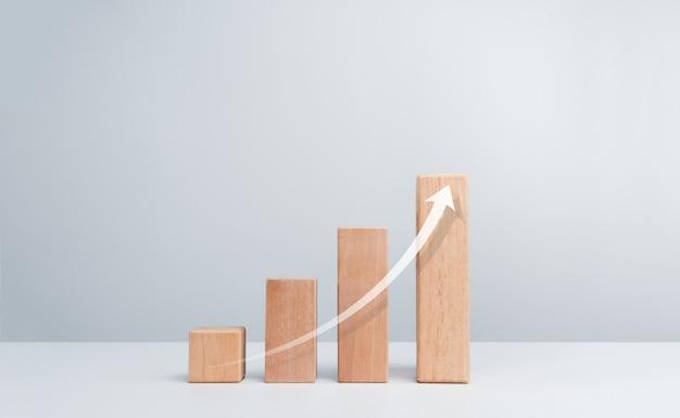 Levante a seta em etapas do gráfico de blocos de madeira em um fundo branco e limpo com espaço de cópia, estilo minimalista. o processo de crescimento do negócio e o conceito de melhoria econômica.