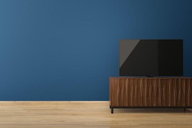 Levou tv na parede azul piso de madeira