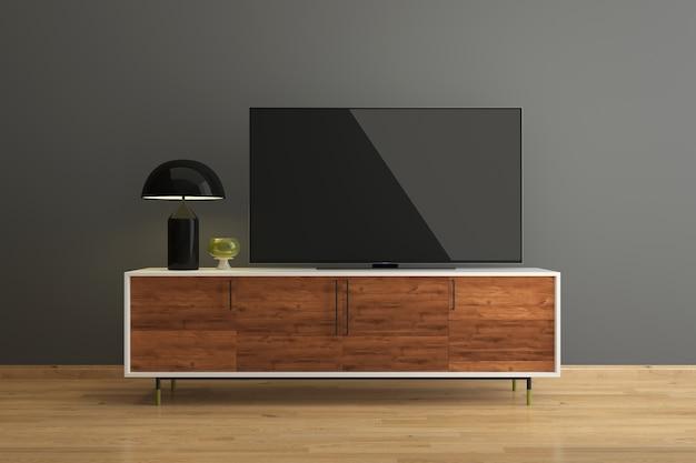 Levou tv na sala de estar tv piso de madeira parede interior