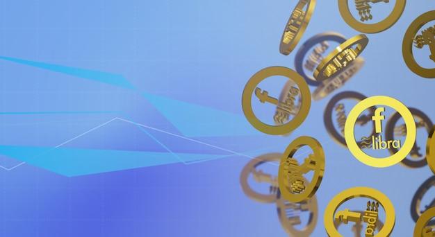 Libra facebook 3d conteúdo de criptografia de renderização.