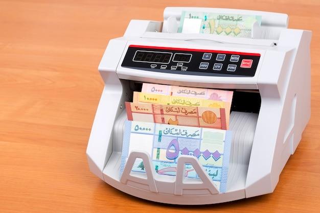 Libra libanesa na máquina de contagem
