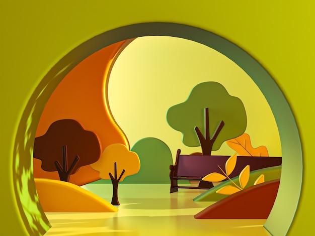 Licença de outono e fundo de desenho em árvore renderização em 3d
