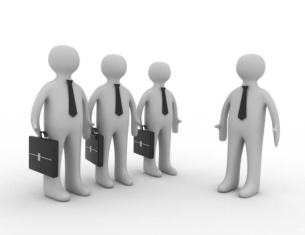 Líder 3d mostra o caminho ao homem de negócios