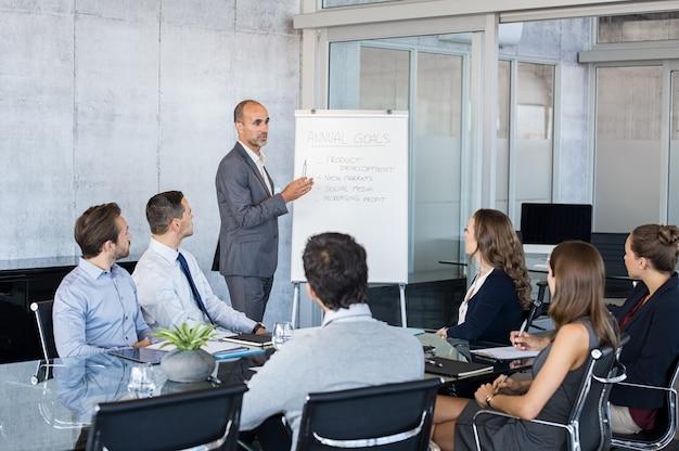 Líder briefing pessoas de negócios
