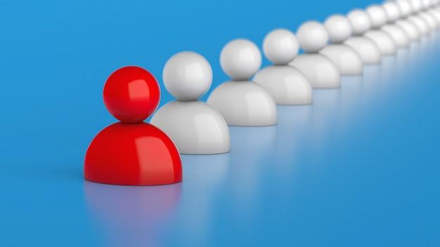Líder da empresa. a equipe segue o líder vermelho. renderização 3d.