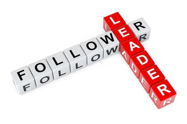 Líder e seguidor assinam como blocos de cubo de palavras cruzadas em um fundo branco. renderização 3d