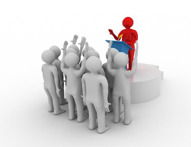 Líder falando para o público. conceito de líder 3d