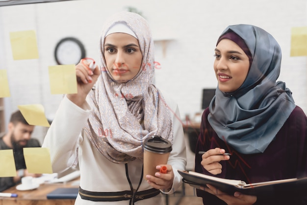 Líderes empresariais árabes do sexo feminino escrevem plano de negócios.