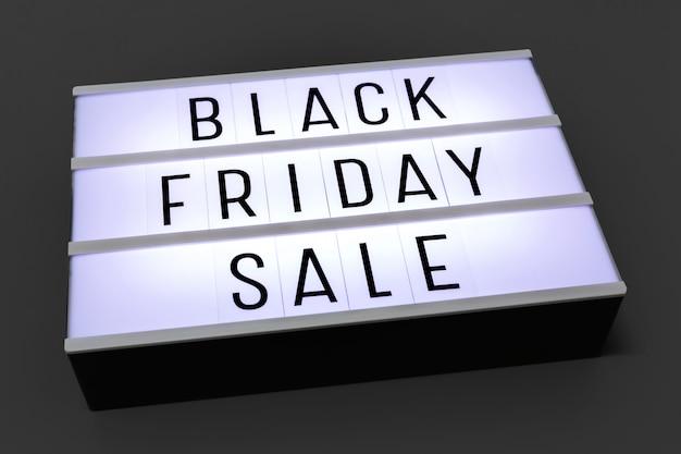 Lightbox de venda sexta-feira negra em fundo escuro