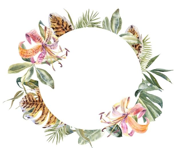 Lili flores e folhas tropicais frame. guirlanda floral exótica