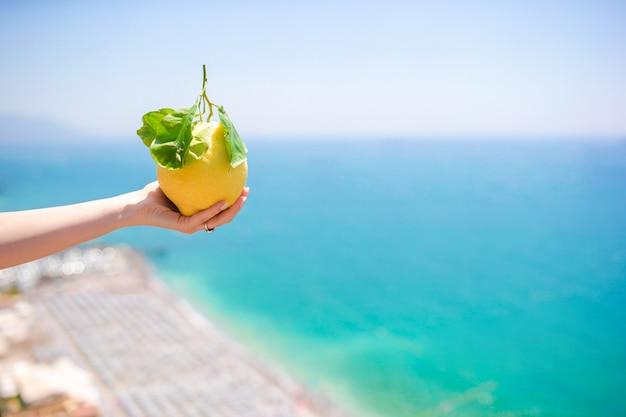 Limão amarelo grande à disposicão no fundo do mar mediterrâneo e do céu.