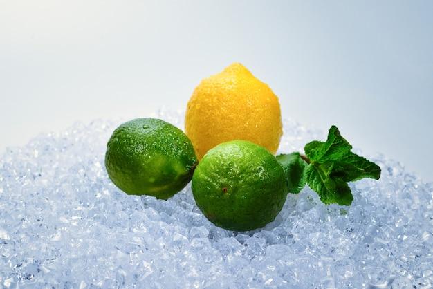 Limão, lima e hortelã no gelo