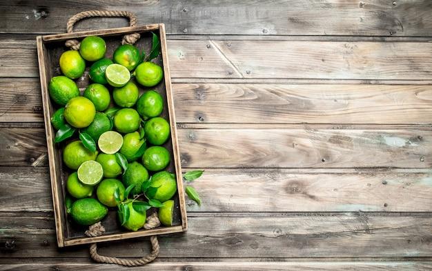 Limão verde fresco com folhas em uma bandeja. em fundo de madeira