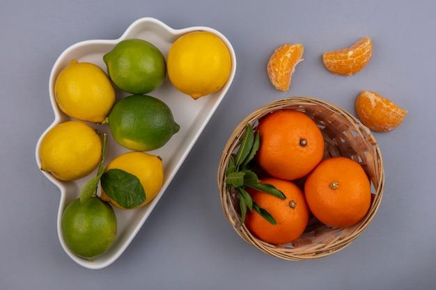 Limões com limas em um prato em forma de nuvem e laranjas em uma cesta em um fundo cinza.