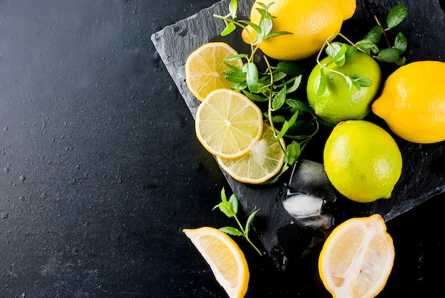 Limões e limas com hortelã