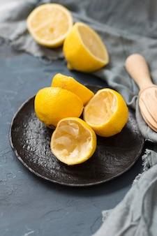 Limões espremidos em close-up