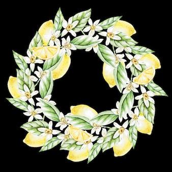 Limões, flores e folhas, coroa de flores em aquarela. ilustração