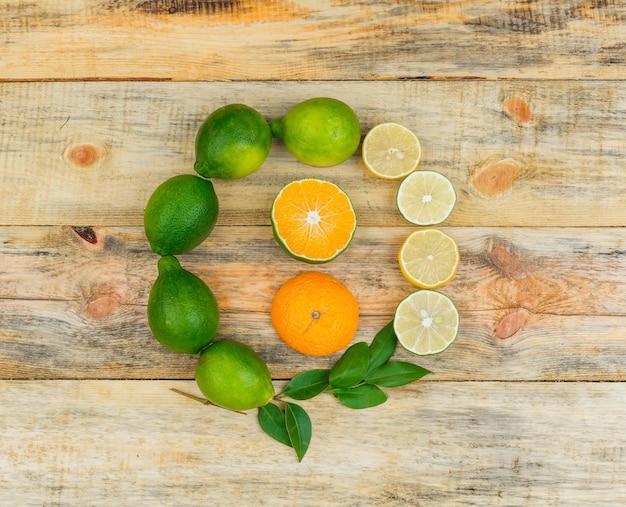 Limões, limas e uma laranja com folhas