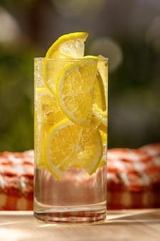 Limonada cítrica em ambiente de jardim, bebida de verão.
