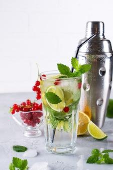 Limonada de frutas frescas caseiro mojito cocktail com limão, limão, folhas de hortelã, com gelo e agitador. conceito de bebida de verão.