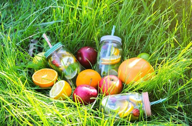 Limonada fresca em potes com canudos. bebidas de verão hipster com frutas na grama verde ao ar livre. eco-friendly na natureza. limões, laranjas e bagas com hortelã no copo. estilo de vida vegano saudável.