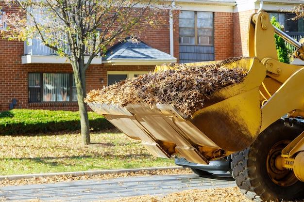 Limpando as folhas de outono caídas com uma escavadeira e um caminhão na cidade