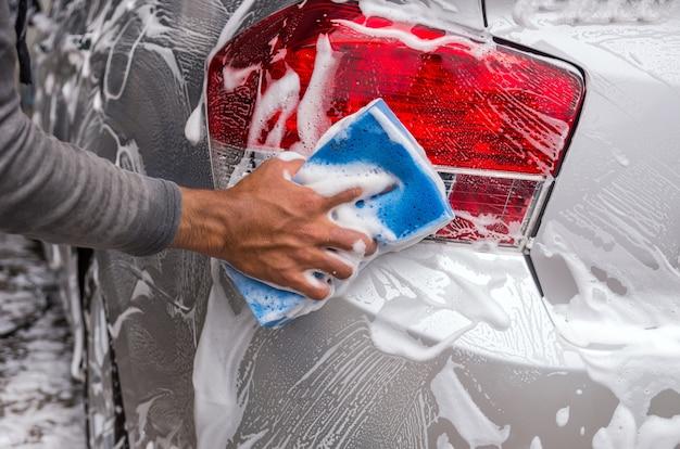 Limpar o carro, conceito de cuidado de carro