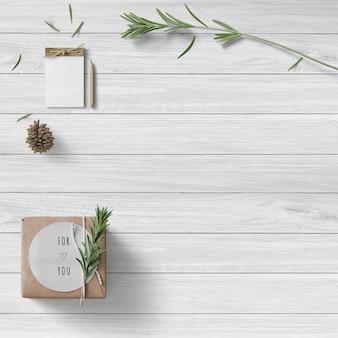 Limpe a cena minimalista emoldurada com vários itens