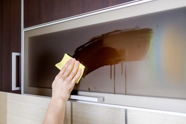 Limpeza de móveis na cozinha