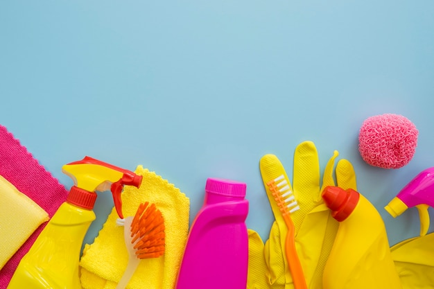 Limpeza e lavagem de suprimentos com espaço para texto