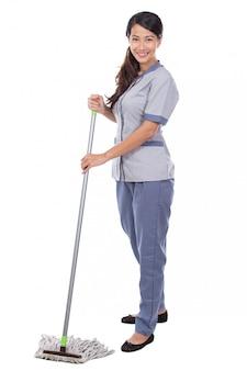Limpeza empregada mulher esfregar o chão
