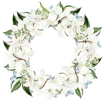 Linda aquarela moldura redonda com flores de orquídea em fundo branco