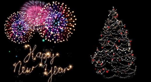 Linda árvore de natal colorida com fogos de artifício e mensagem de feliz ano novo