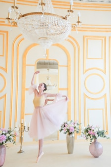 Linda bailarina em roupas cor de rosa posa em um quarto de luxo