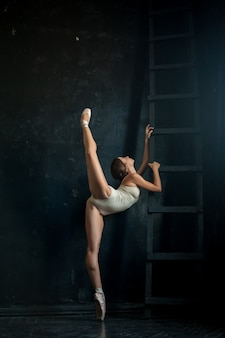 Linda bailarina posando contra escuro