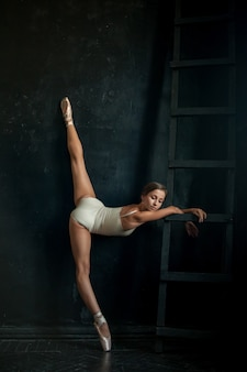 Linda bailarina posin no quarto escuro