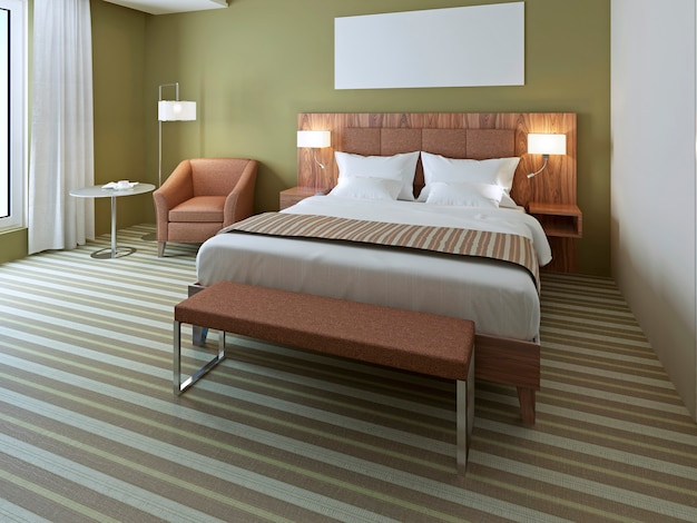 Linda cama de casal em quarto verde-oliva