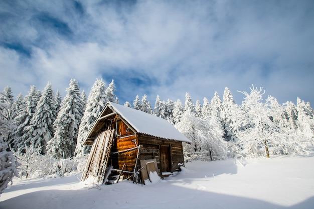 Linda casa de madeira em um inverno