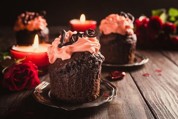 Linda chocolate cupecake com coração