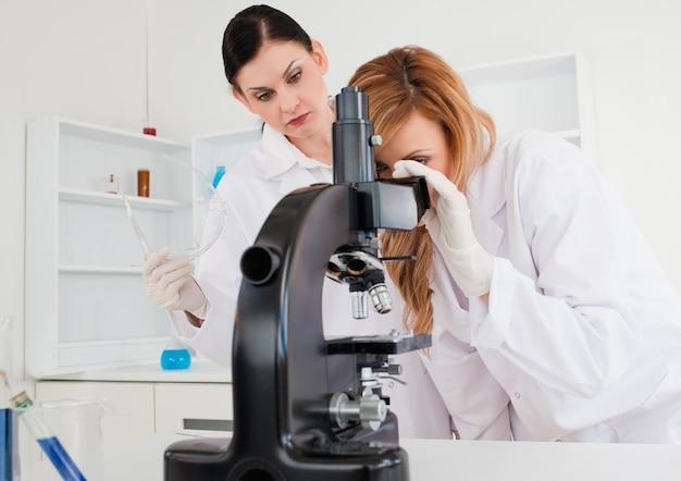 Linda cientista feminina olhando através de um microscópio ajudado por seu assistente