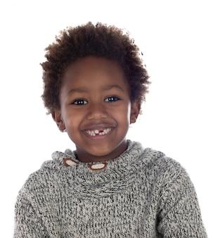 Linda criança afro-americana sem dentes