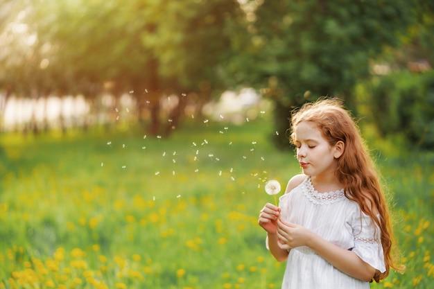 Linda criança gosta de soprar dente de leão no parque primavera